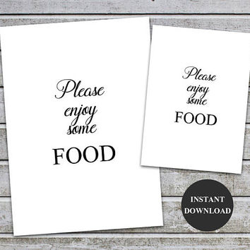 Enjoy Some Food, food signs wedding template, food sign decor, Bridal shower signs, Baby Shower food Signage Instant Download (v32-1)