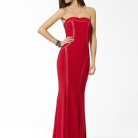 DRESSES | Red Strapless Gown With Illusion Detail | Caché