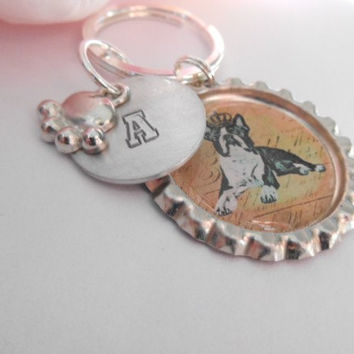 French Bulldog Keychain With Hand Stamped Initial And Paw Charm Made To Order