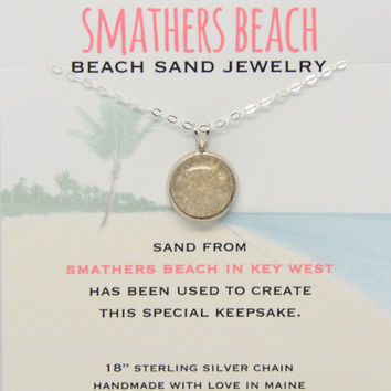 Smathers Beach Sand Small Round Necklace Beach Sand Jewelry One of a Kind OOAK Florida Beach Vacation Memory Special Keepsake Gifts for Her