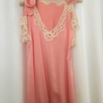 Fernando Sanchez Pink Silk Nightgown with Tie Sleeves and White Lace S/M