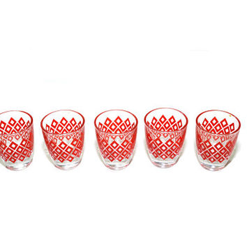 Vintage Red Shot Glasses Retro Shot Glasses Diamond Shot Glasses Red Shot Glass French Shot Glasses Set of 5