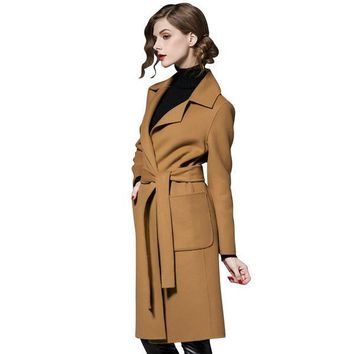 Long Style Sashes Trench Coat