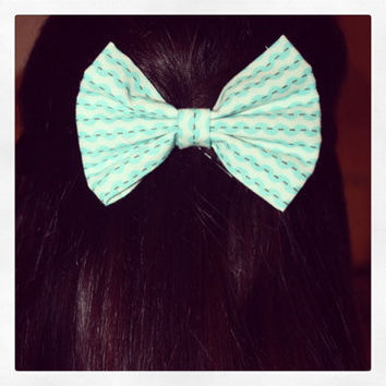 Blue and White Patterned Hair Bow