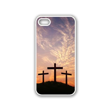 Three Crosses Christian Jesus iPhone 5 White Case - For iPhone 5/5G White Designer Plastic Snap On Case