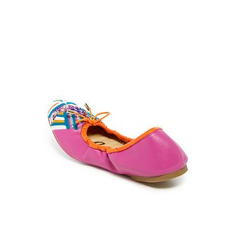 Hot Pink Felicia Embroidered Ballet Flat Shoes (Little Girls & Big Girls)