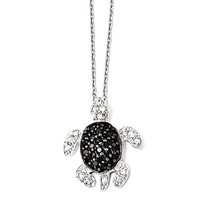 Cheryl M Sterling Silver Black And White CZ Turtle Pendant Necklace