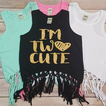 I'm Two Cute Heart - Fringe Tank Top - Birthday Girl - Girls Tank Tops - Summer Birthday - Birthday Shirt - Kids Tank Top - Summer Clothing