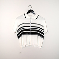 90s grunge zip up shirt early 1990s black + white striped ribbed relaxed fit collared crop top t-shirt large