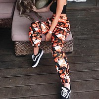 2017 new camouflage print stripe ribbon casual women [212031275034]