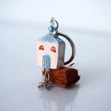 Home Key Chain Little clay house accessory, Door keychain in white, blue, orange  and gold, Ceramic miniature hause keychain, Just for you