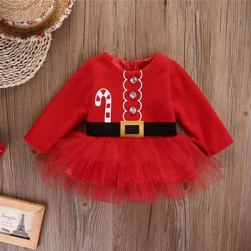 Newborn Baby Girl Cute Long Sleeve Christmas Santa Claus Princess Toddler Baby Girl Tulle Tutu Dress Party Outfits Costume
