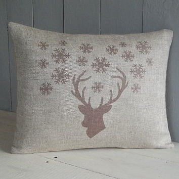 Stags Head And Snowflake Linen Cushion