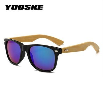 YOOSKE Classic Vintage Wood Sunglasses Men Women Mirrored Reflective Lens Wooden Sun Glasses Female Bamboo Glasses Goggles