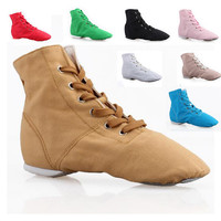 Cheap New Men Women Fashion Sports Dancing Sneakers Jazz Dance Shoes Lace Up Dancing Boots Blue Red Black Tan Green White