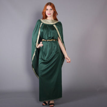 60s GRECIAN Goddess CAFTAN / 1970s Metallic Gold & Green Draped Maxi DRESS