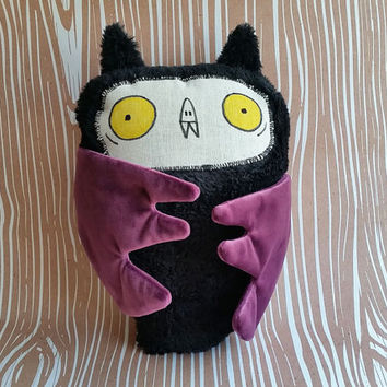 Stuffed super soft bat baby toy. Handmade.