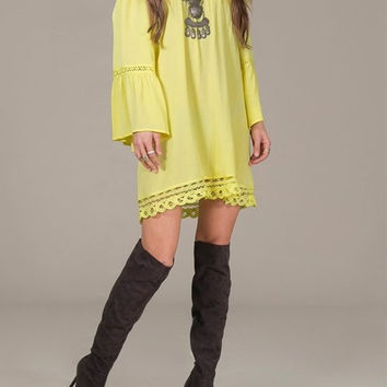 Eliza Bella for Flying Tomato NEW Yellow Boho Hippie Off Shoulder Bell Sleeve Dr