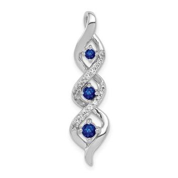 14k White Gold Diamond And .26ct Blue Sapphire Twisted Chain Slide Pendant