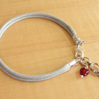 "Diabetes Awareness Bracelet / Anklet - Gray Cotton with Red Drop of ""Blood"""