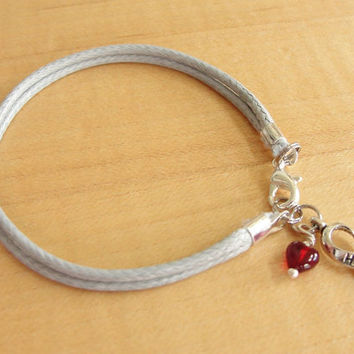 """Diabetes Awareness Bracelet / Anklet - Gray Cotton with Red Drop of """"Blood"""""""