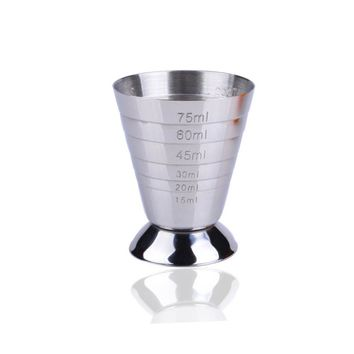 75ml Silver Stainless Steel Measuring Shot Cup Bar Cocktail Drink Mixer Measuring Cup Drink Shaker  Bar Measurer Measuring Tool