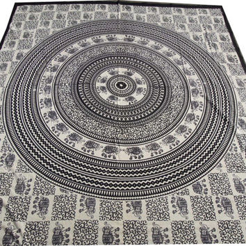 Beautiful Indian Elephant Mandala Tapestry, Wall Hanging Bedspread, Home Decor Art , Throw Bedspread Bed Decor Sheet Ethnic Decorative,