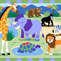 LA Rug Olive Kids Wild Animals 39-by-58-Inch Area Rug
