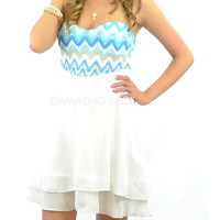 Summer Dance White & Aqua Strapless Dress Zig Zag Bodice