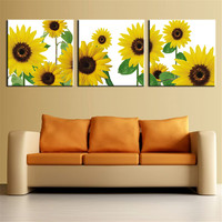 The Most Famous Living Room Painting Wall Art Picture Flower Sunflower for Home Decor Ideas Print on Canvas Oil Painting 3pcs