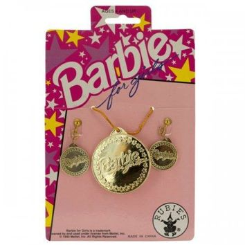 Barbie For Girls Gold Earrings & Necklace Set (pack of 36)