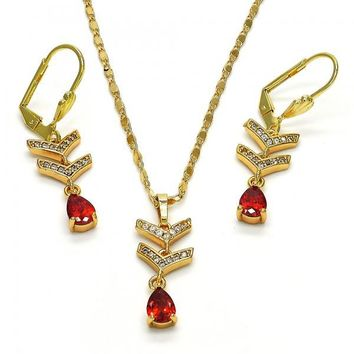 Gold Layered Necklace and Earring, Teardrop Design, with Cubic Zirconia, Golden Tone