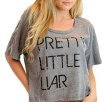 Pretty Little Liars Oversized Panel Half-Top Distressed Logo Heather Gray T-shirt Tee (Juniors Medium/Large)