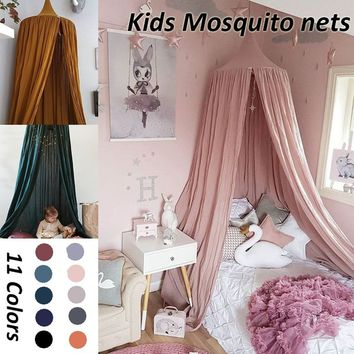 240M Boys Girls Kids Princess Canopy Bed Valance Kids Room Decoration Baby Bed Round Mosquito Net Tent Curtains