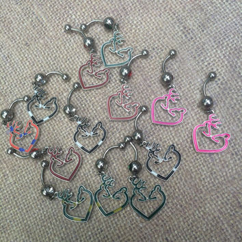 Buck and Doe Browning Belly Ring choose your color