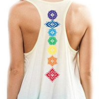 Yoga Clothing for You Womens Floral Chakras Ombre Racerback Tank