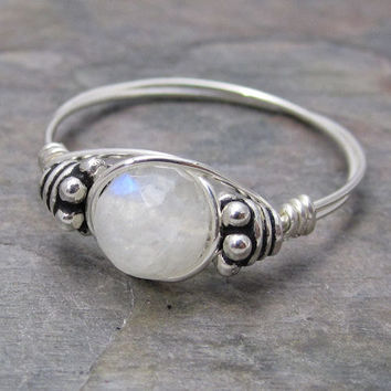 Rainbow Moonstone Faceted Bali Sterling Silver Wire Wrapped Beaded Ring ANY size