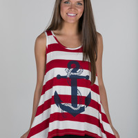 Red Striped Anchor Tank