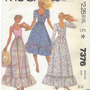 80s Womens Romantic Prairie Style Dress Boho McCalls Sewing Pattern 7376 Size 12 Bust 34 UnCut Sweetheart Neckline in 2 Lengths