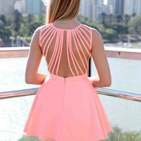 Coral Sleeveless Dress with Lattice Open Back