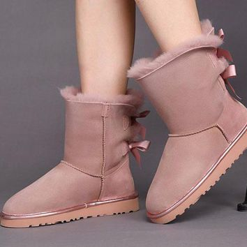 Best Online Sale Ugg 1019034 Twilight Pink Classic Bailey Bow II Metallic Boot Snow Boots