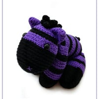 Crochet Purple Black Zebra Amigurumi - Striped Horse Stuffed Toy - Farm Animal Plushie - READY TO SHIP