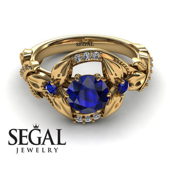Engagement ring 14K Yellow Gold Flowers Vintage Art Deco Ring Sapphire With White diamond - Isabelle