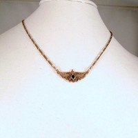 Sterling and Onyx Necklace - Vintage Butterfly