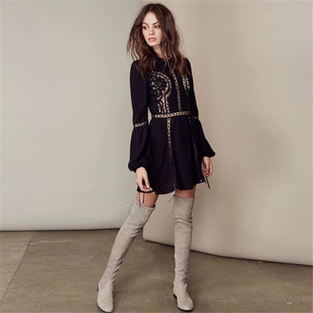 """Free People"" Fashion Solid Color Lace Hook Flowers Hollow Long Sleeve Mini Dress"