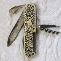 Vintage CARVED HORN POCKETKNIFE 1950s