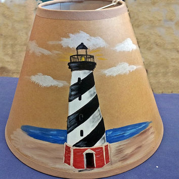 Lamp shade, lighthouse  Cape Hatteras hand painted