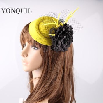 Multiple colors  women fascinator hats fashion cocktail hats with silk flower elegant party headwear wedding hair accessories