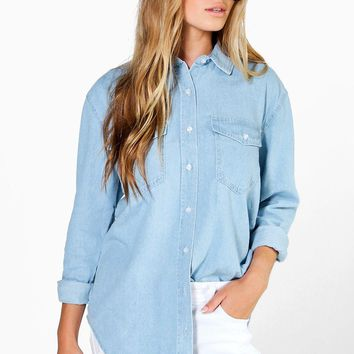 Claudia Oversize Bleach Wash Denim Shirt