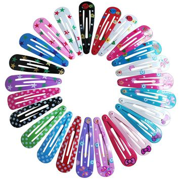 10 PCS per Lot Carton Candy Color Girls Hairpin 5cm BB Clips Snap Band Hairpins Kids Hair Accessories